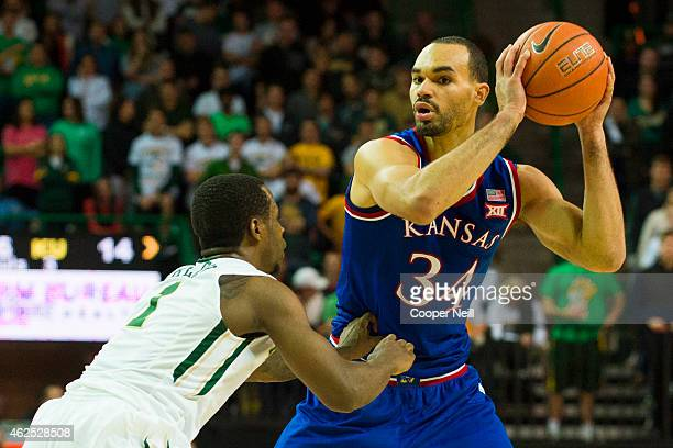 Perry Ellis of the Kansas Jayhawks brings the ball up court against the Baylor Bears on January 7 2015 at the Ferrell Center in Waco Texas