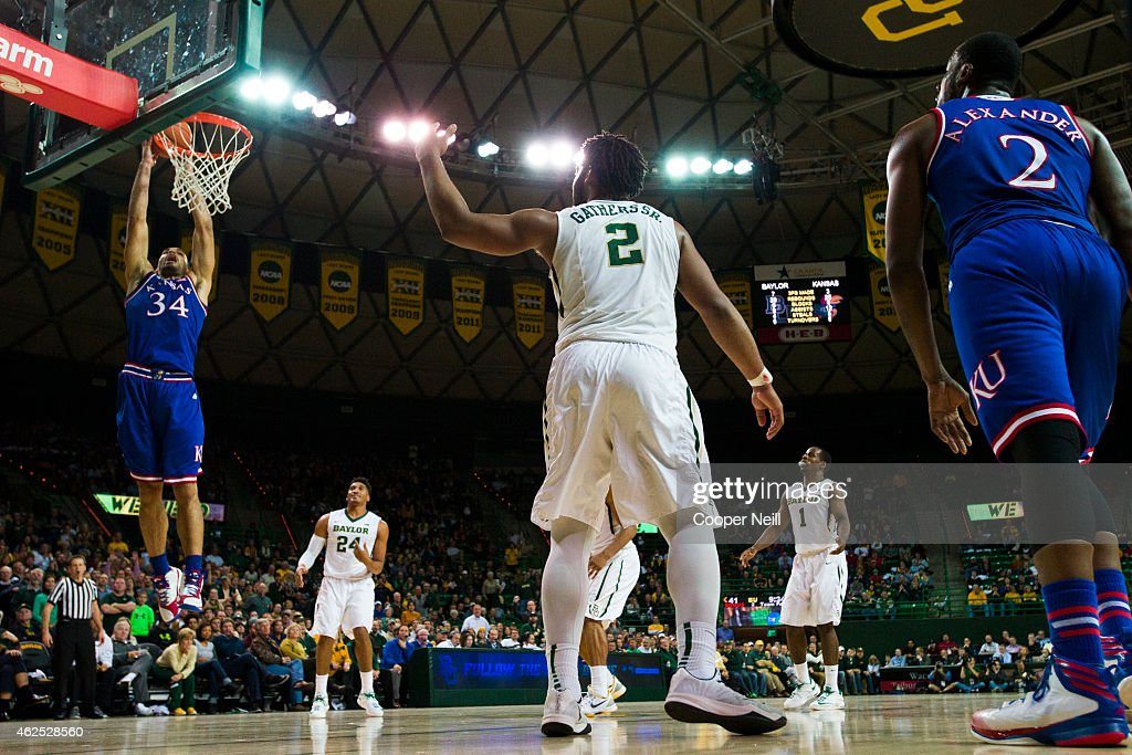 Perry Ellis of the Kansas Jayhawks dunks the ball against the Baylor Bears on January 7 2015 at the Ferrell Center in Waco Texas