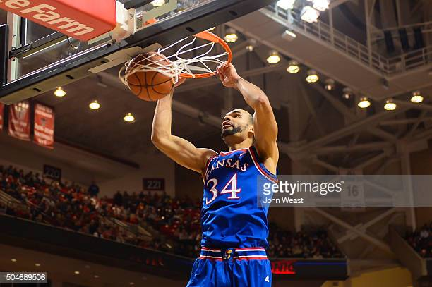 Perry Ellis of the Kansas Jayhawks dunks the basketball during the game against the Texas Tech Red Raiders on January 09 2016 at United Supermarkets...