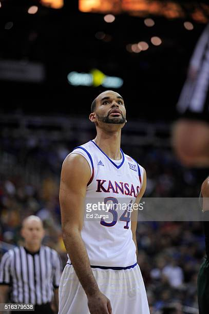 Perry Ellis of the Kansas Jayhawks in action against the Baylor Bears during the semifinals of the Big 12 Basketball Tournament at Sprint Center on...