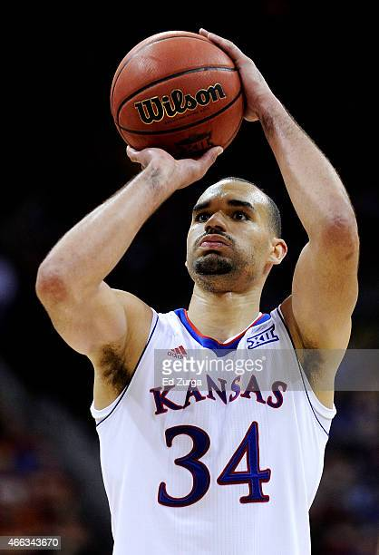 Perry Ellis of the Kansas Jayhawks shoots a free throw against the Iowa State Cyclones in the second half during the championship game of the Big 12...