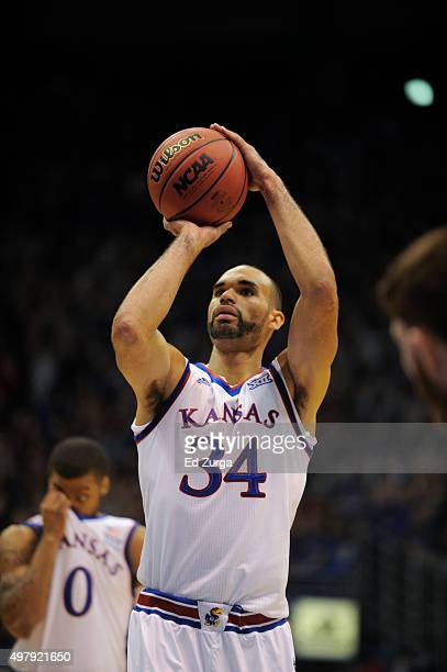 Perry Ellis of the Kansas Jayhawks shoots a free throw against the Northern Colorado Bears at Allen Fieldhouse on November 13 2015 in Lawrence Kansas