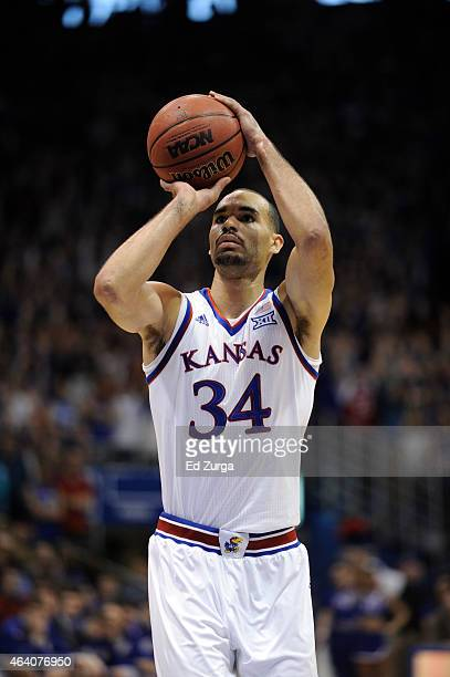 Perry Ellis of the Kansas Jayhawks shoots against shoots a free throw against the Baylor Bears at Allen Fieldhouse on February 14 2015 in Lawrence...