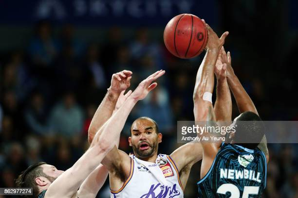 Perry Ellis of the Kings clashes with Devonte DJ Newbill of the Breakers in mid air during the round three NBL match between the New Zealand Breakers...
