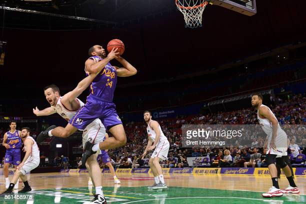 Perry Ellis of the Kings drives towards the basket during the round two NBL match between the Sydney Kings and the Illawarra Hawks at Qudos Bank...