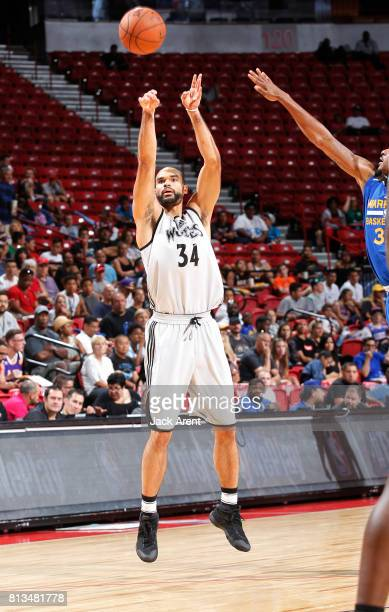 Perry Ellis of the Minnesota Timberwolves passes the ball against the Golden State Warriors during the 2017 Summer League on July 12 2017 at the...