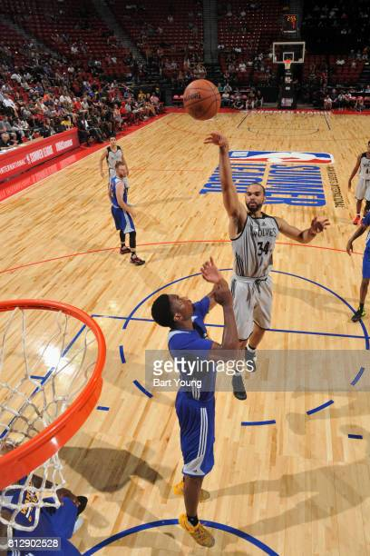 Perry Ellis of the Minnesota Timberwolves shoots the ball against the Golden State Warriors on July 11 2017 at the Thomas Mack Center in Las Vegas...