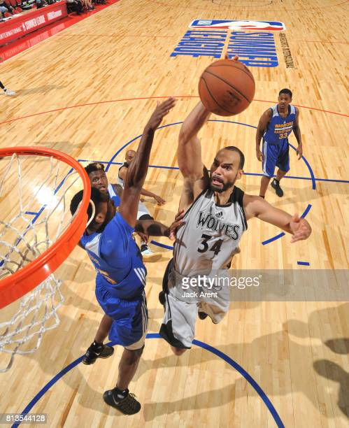 Perry Ellis of the Minnesota Timberwolves shoots the ball against the Golden State Warriors during the 2017 Summer League on July 12 2017 at the...