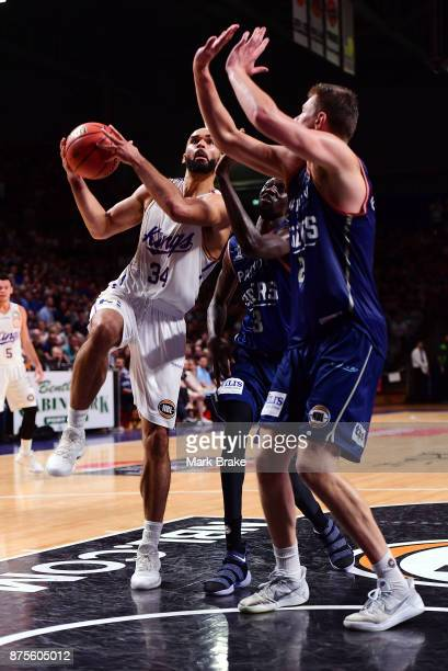 Perry Ellis of the Sydney Kings lays up during the round seven NBL match between Adelaide 36ers and the Sydney Kings at Titanium Security Arena on...