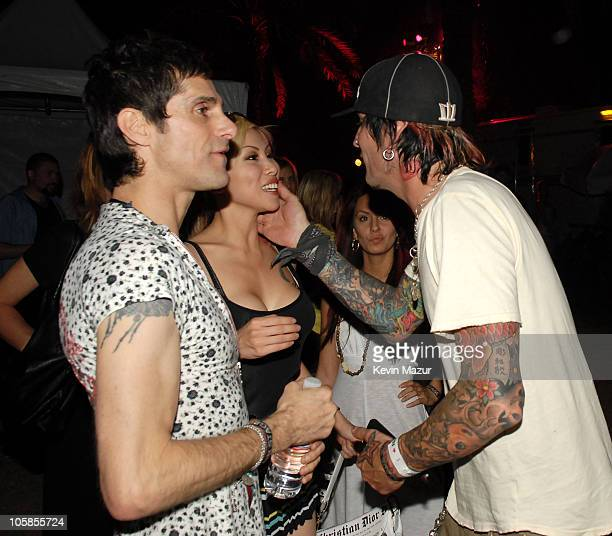 Perry Farrell Etty Farrell and Tommy Lee during 2007 Coachella Valley Music and Arts Festival Day 3 at Empire Polo Field in Indio California United...