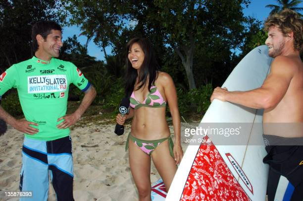 Perry Farrell Kelly Hu and Mark Occhilupo during Kelly Slater Invitational Fiji Day 4 Celebrity ProAm Presented by Quiksilver at Restaurants in...