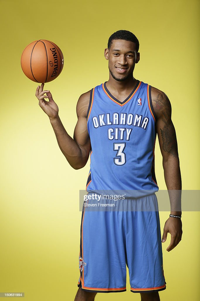 Perry Jones #3 of the Oklahoma City Thunder poses for a portrait during the 2012 NBA rookie photo shoot on August 21, 2012 at the MSG Training Facility in Tarrytown, New York.