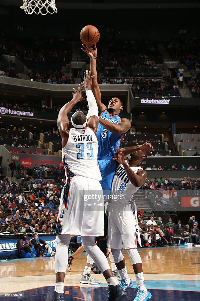 Perry Jones #3 of the Oklahoma City Thunder puts up a shot against the Charlotte Bobcats at the Time Warner Cable Arena on March 8, 2013 in Charlotte, North Carolina.