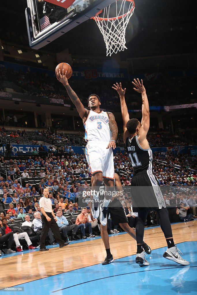Perry Jones #3 of the Oklahoma City Thunder shoots the ball against the San Antonio Spurs on April 7, 2015 at Chesapeake Energy Arena in Oklahoma City, Oklahoma.