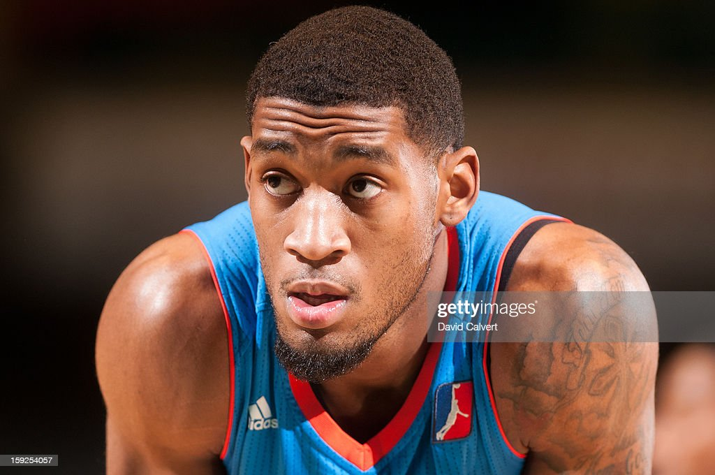 Perry Jones #23 of the Tulsa 66ers during a timeout against the Fort Wayne Mad Ants during the 2013 NBA D-League Showcase on January 10, 2013 at the Reno Events Center in Reno, Nevada.