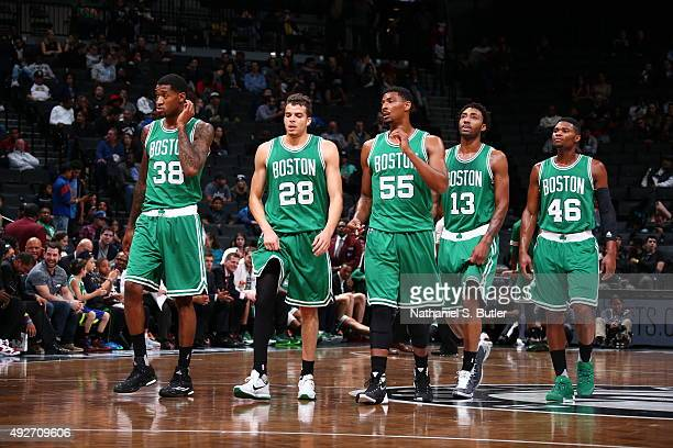 Perry Jones RJ Hunter Jordan Mickey James Young and Corey Walden of the Boston Celtics during the preseason game against the Brooklyn Nets on October...