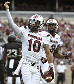 Perry Orth of the South Carolina Gamecocks celebrates his 6yard touchdown run in the second quarter of a NCAA football game against the Texas AM...