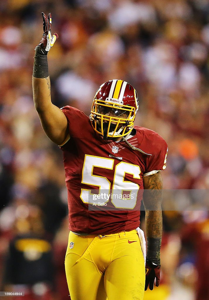 Perry Riley of the Washington Redskins reacts during their NFC Wild Card Playoff Game against the Seattle Seahawks at FedExField on January 6 2013 in...