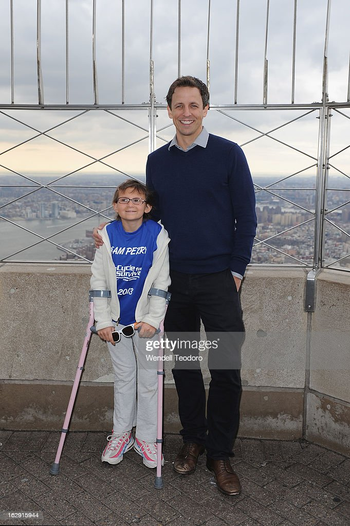 Perry Zimmerman and <a gi-track='captionPersonalityLinkClicked' href=/galleries/search?phrase=Seth+Meyers&family=editorial&specificpeople=618859 ng-click='$event.stopPropagation()'>Seth Meyers</a> attends the lights The Empire State Building on March 1, 2013 in New York City.