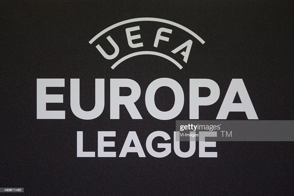Persconferentie, FC, logo, uefa, europa, league during a training session prior to the UEFA Europa League match between Slovan Liberec and FC Groningen on October 22, 2015 at Stadion U Nisy in Liberec, Czech Republic.