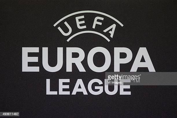 Persconferentie FC logo uefa europa league during a training session prior to the UEFA Europa League match between Slovan Liberec and FC Groningen on...
