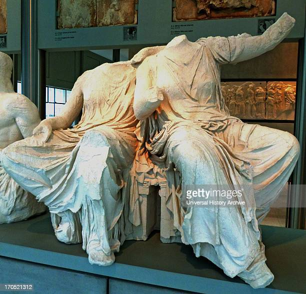 Persephone and Demeter from a section of the East pediment of the Parthenon housed in the New Acropolis Museum Athens