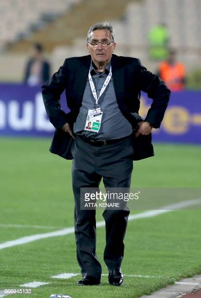 Persepoils head coach Branko Ivankovic looks on during the Asian Champions League football match between Qatar's AlRayyan and Iran's Persepolis at...