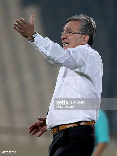 Persepolis FC coach Branko Ivankovic reacts on the sidelines during the Asian Champions League football match between Qatar's Lekhwiya SC and Iran's...