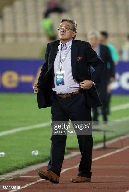 Persepolis' head coach Branko Ivankovic reacts on the sidelines during the Asian Champions League football match between UAE's AlWahda and Iran's...