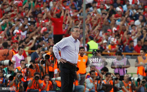 Persepolis's Croatian coach Branko Ivankovic looks on during their Persian Gulf Pro League derby football match between Persepolis FC and Esteghlal...
