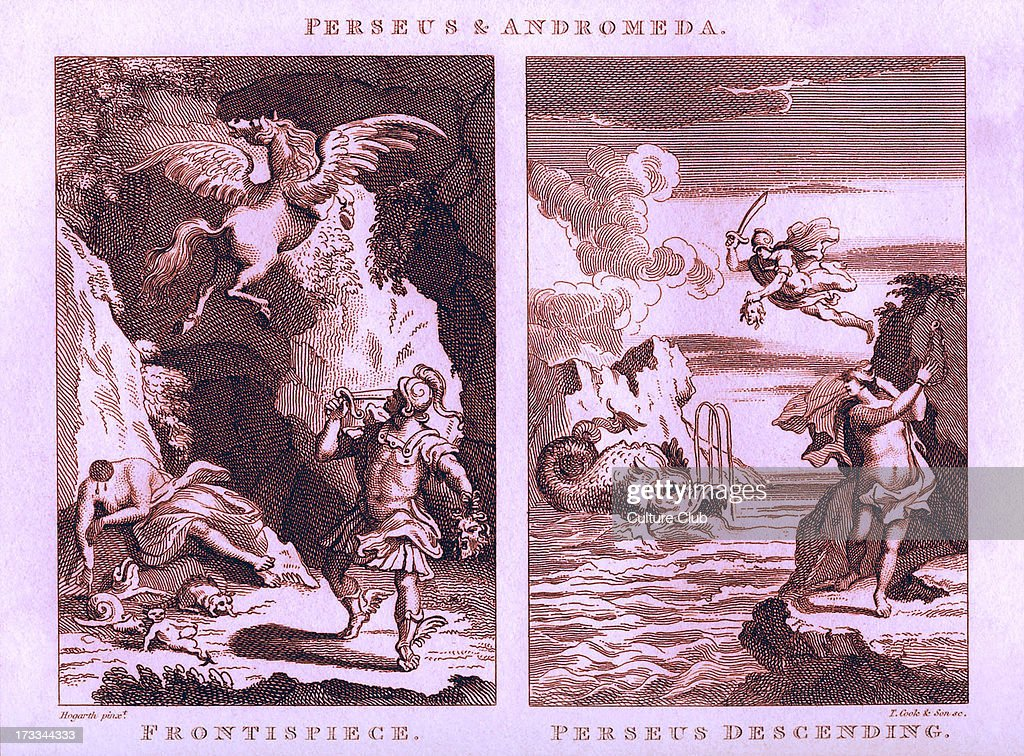 Perseus and Andromeda by William Hogarth 1729 Engraved by T Cook Sons Show left Frontispiece with Perseus holding the head of the Gorgon Medusa Right...