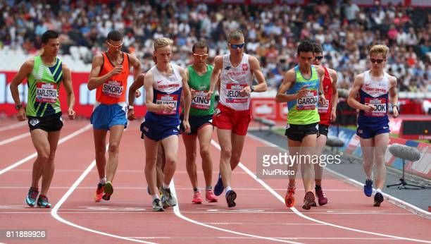 LR Perseus Karlstrom Rafal Sikora Callum Wilkinson Dominic King Jakub Jelonek Diego Garcia and Christophrt Snook in the Men's One Mile Walk during...