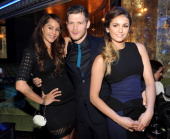 Persia White Joseph Morgan and Nina Dobrev attend The CW Network's 2014 Upfront party at Paramount Hotel on May 15 2014 in New York City