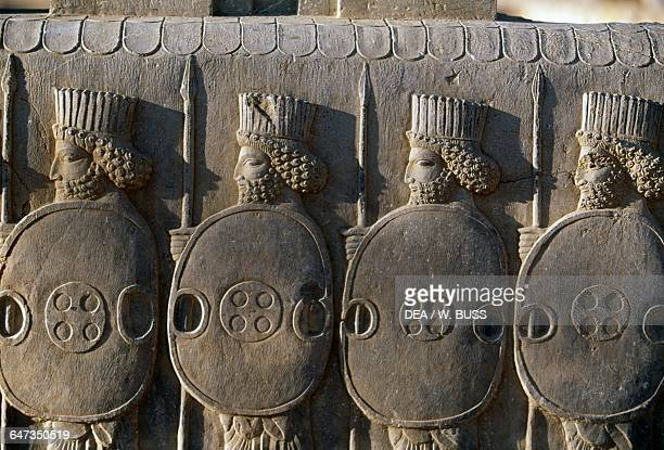 Persian guards detail relief Tripylon palace in Persepolis Iran Achaemenid civilisation 6th5th century BC