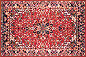 Full view of a persian rug carpet from above.