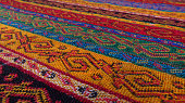 Close-up of a Turkish tapestry tablecloth at the Grand Bazaar in Istanbul.