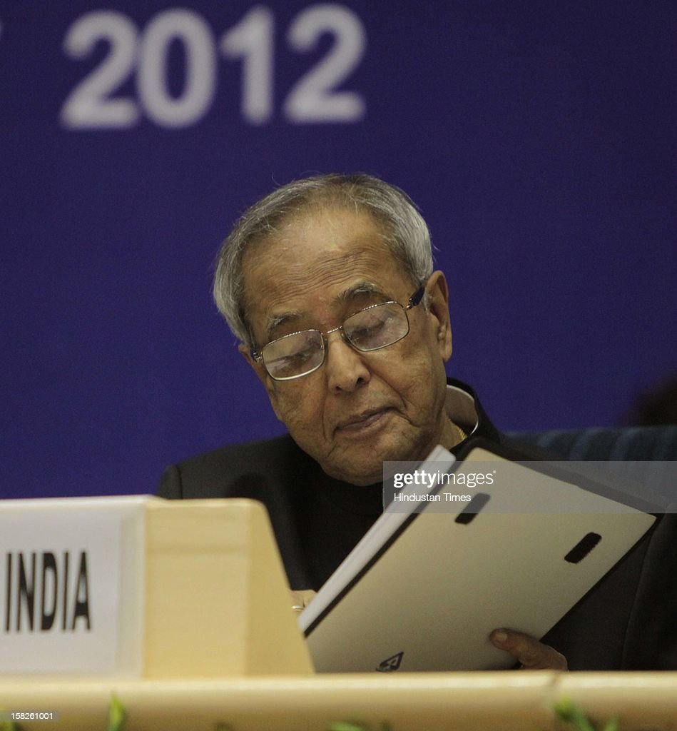 Persident of indaia Pranab Mukherjee during a National Seminar on Food Safety - Role of Standards at Vigyan Bhawan on December 12, 2012 in New Delhi, India.