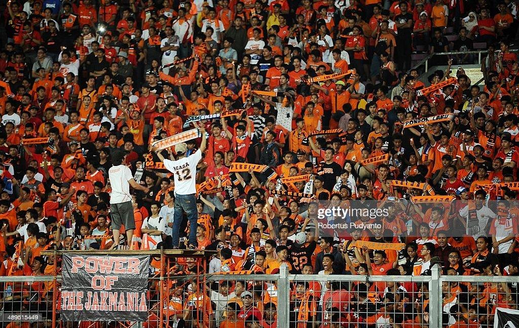 Persija Jakarta supporters during the international friendly match between Perija Jakarta and AFC Ajax on May 11, 2014 in Jakarta, Indonesia. AFC Ajax win the game 3-0.