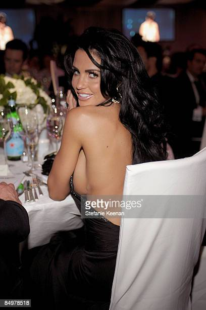 TV persoanlity Katie Price attends the 17th Annual Elton John AIDS Foundation Oscar party held at the Pacific Design Center on February 22 2009 in...