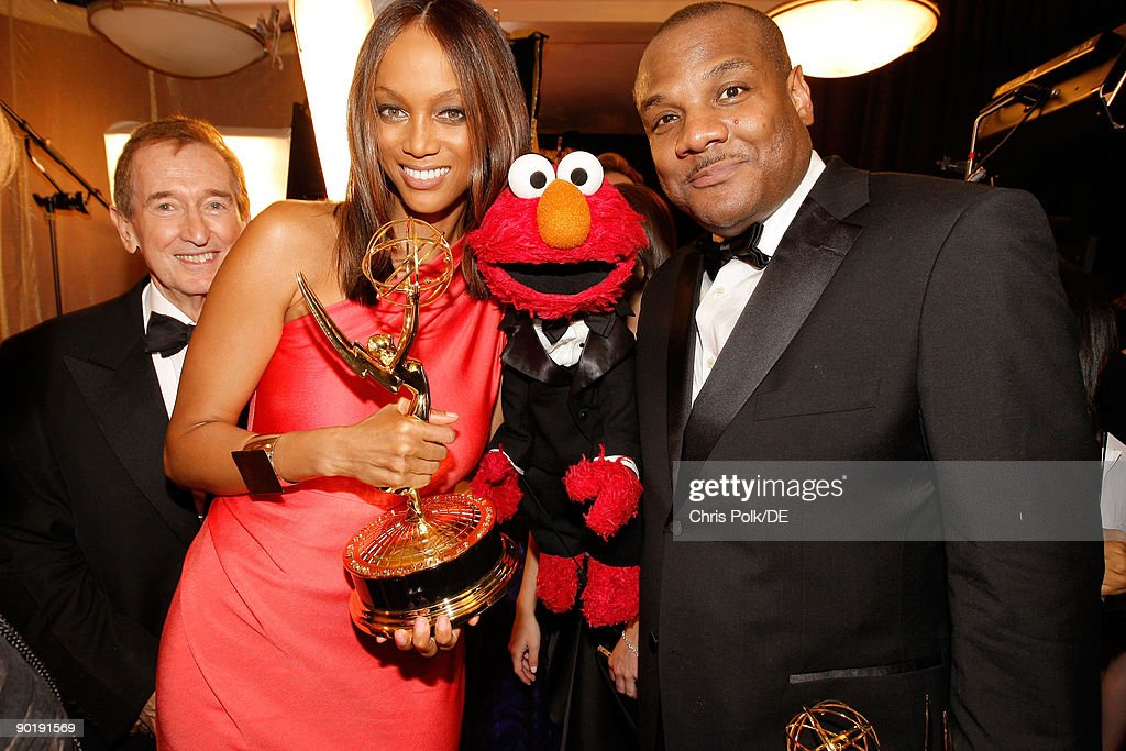 TV persoanlity Tyra Banks, winner of the Emmy for Outstanding Talk Show/Informative, and actor/puppeteer Kevin Clash, winner of the Emmy for Outstanding Performer in a Children's Series, attend the 36th Annual Daytime Emmy Awards at The Orpheum Theatre on August 30, 2009 in Los Angeles, California.