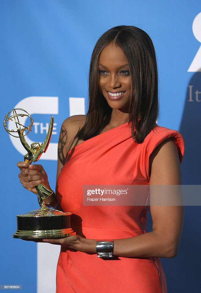 TV persoanlity Tyra Banks, winner of the Emmy for Outstanding Talk Show/Informative, poses in the press room at the 36th Annual Daytime Emmy Awards at The Orpheum Theatre on August 30, 2009 in Los Angeles, California.