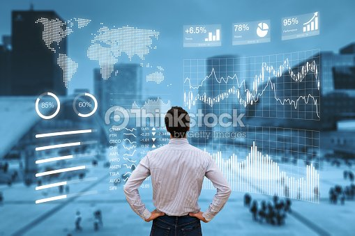 Person analyzing financial dashboard with KPI and business district background : Stock Photo