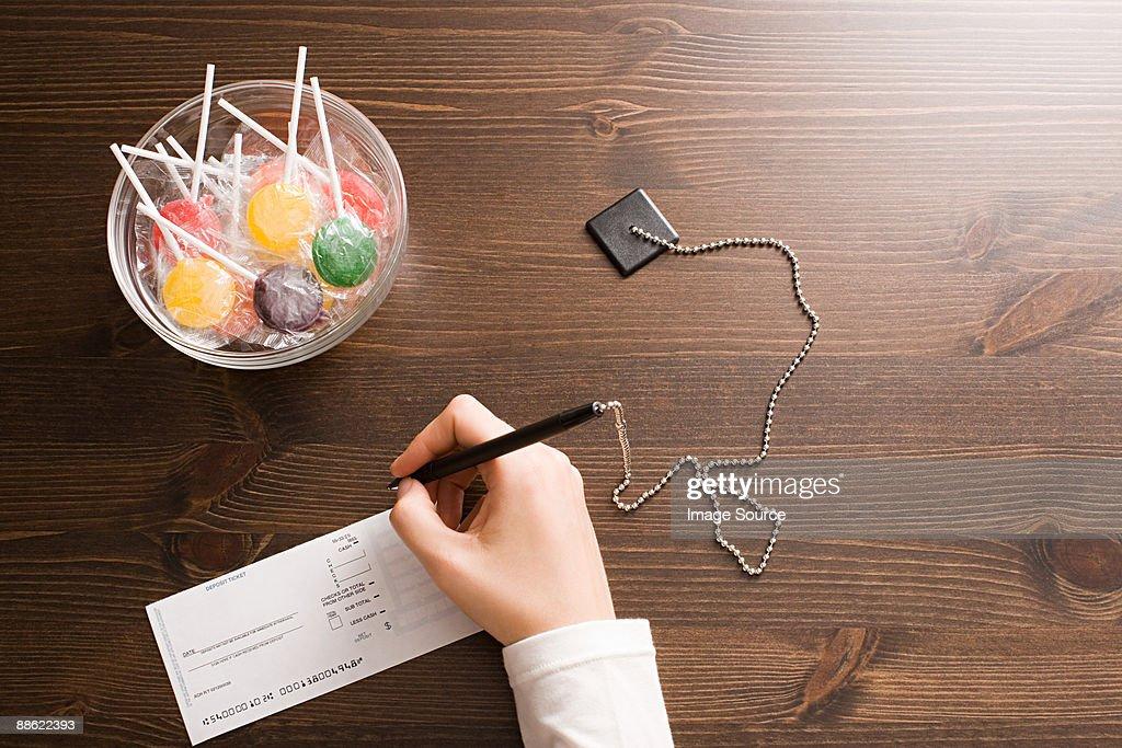 Person at bank counter