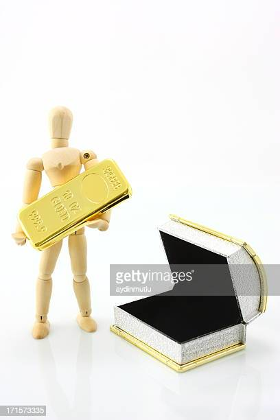 Person carry gold ingot