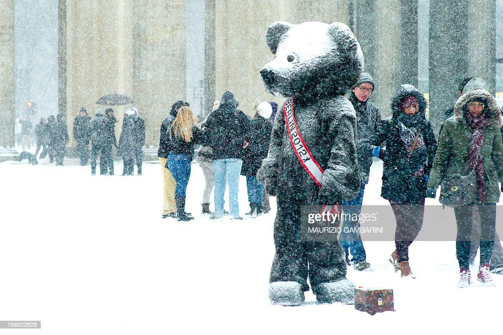 A person disguised as bear, the Berlin city masquot, waits in a heavy snowfall to pose for pictures with tourists on December 9, 2012 in Berlin. AFP PHOTO / MAURIZIO GAMBARINI /GERMANY OUT