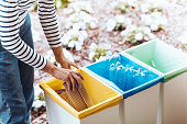 Person disposing paper to yellow bin on terrace with green container with glass and blue with plastic