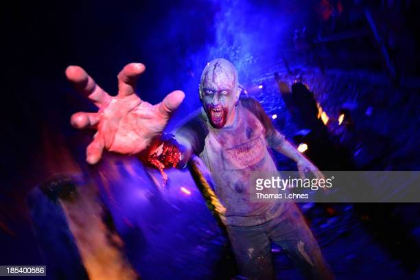 A person dressed as a monster poses amongst graves at Frankenstein castle on October 19 2013 in Darmstadt Germany Grotesque monsters howling...