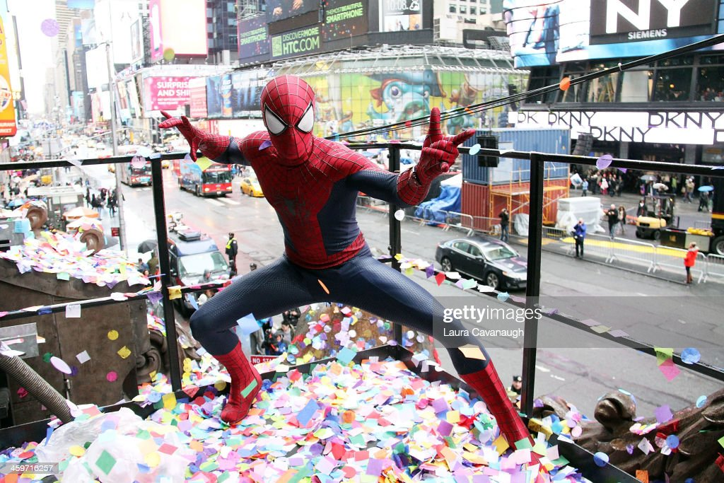 A person dressed as Spiderman attends the 2014 New Year's Eve Confetti Test at Hard Rock Cafe, Times Square on December 29, 2013 in New York City.