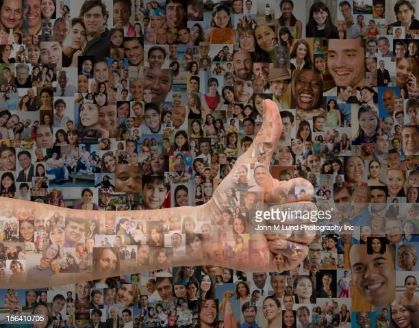 Person giving a thumbs up surrounded by images of people