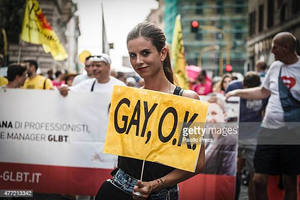 A person holding a banner reading 'Gay OK' during the 21st annual Gay Pride Parade in Rome Tens of thousands of members of Italian LGBTQI communities...